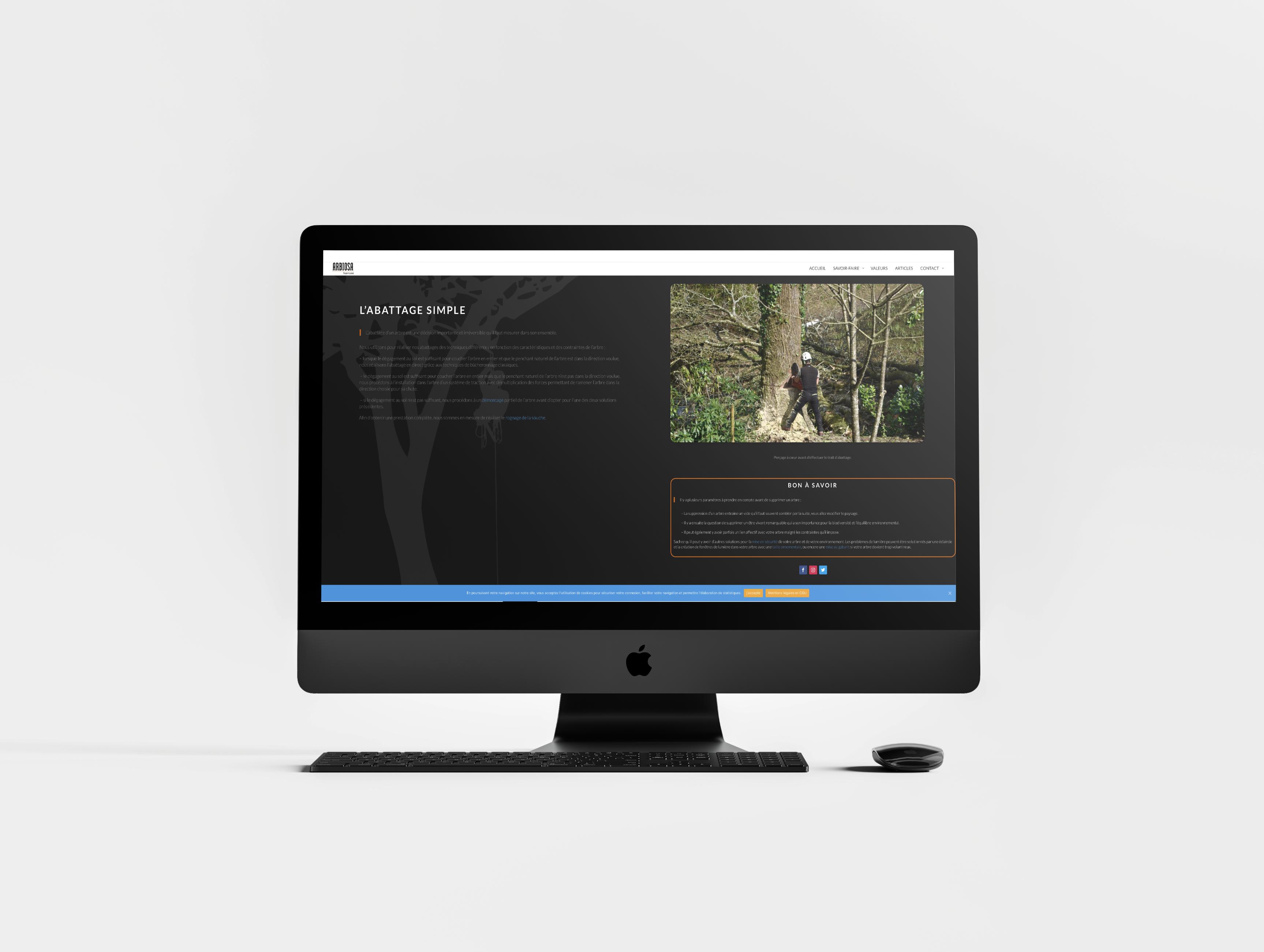 Création de la maquette du site internet pour la société Arbiosa située à La Limouzinière