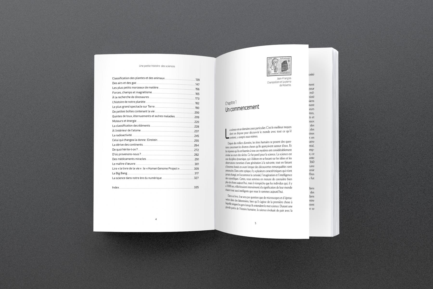 Création de maquette et mise en pages de l'ouvrage de vulgarisation scientifique Une petite histoire des sciences pour l'éditeur De Boeck