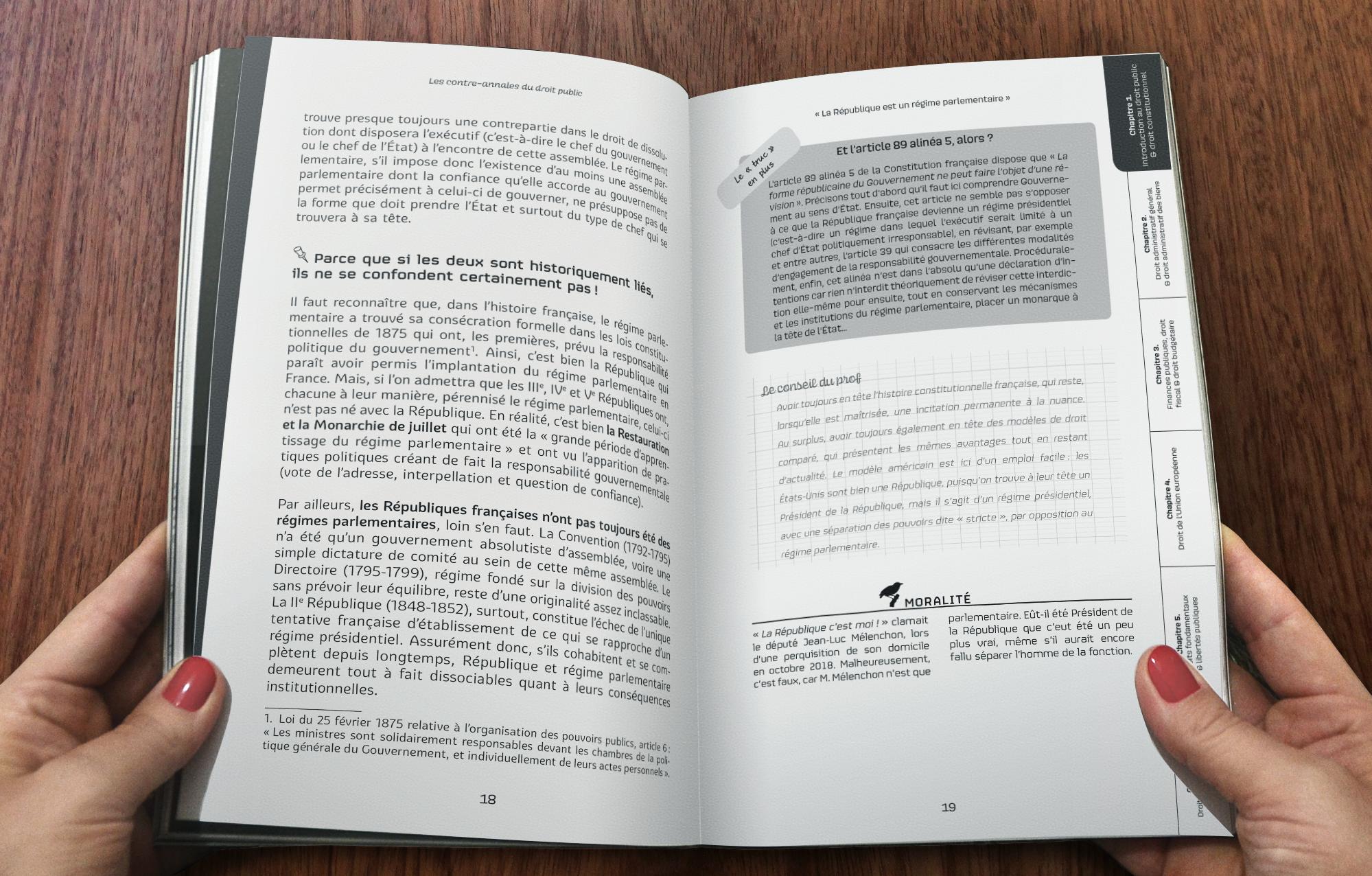 Création de maquette et mise en pages d'une maquette spécifique pour l'ouvrage Les Contre Annales du Droit Public, de la collection délicieusement décalée Le Meilleur du Droit pour l'éditeur Enrick B