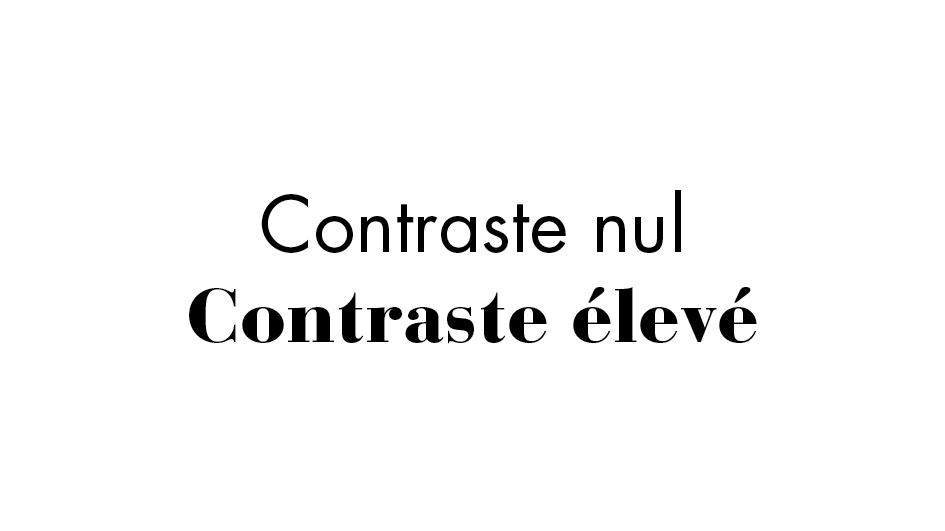Le graphiste joue sur le contraste des typographies lorsqu'il crée une identité visuelle