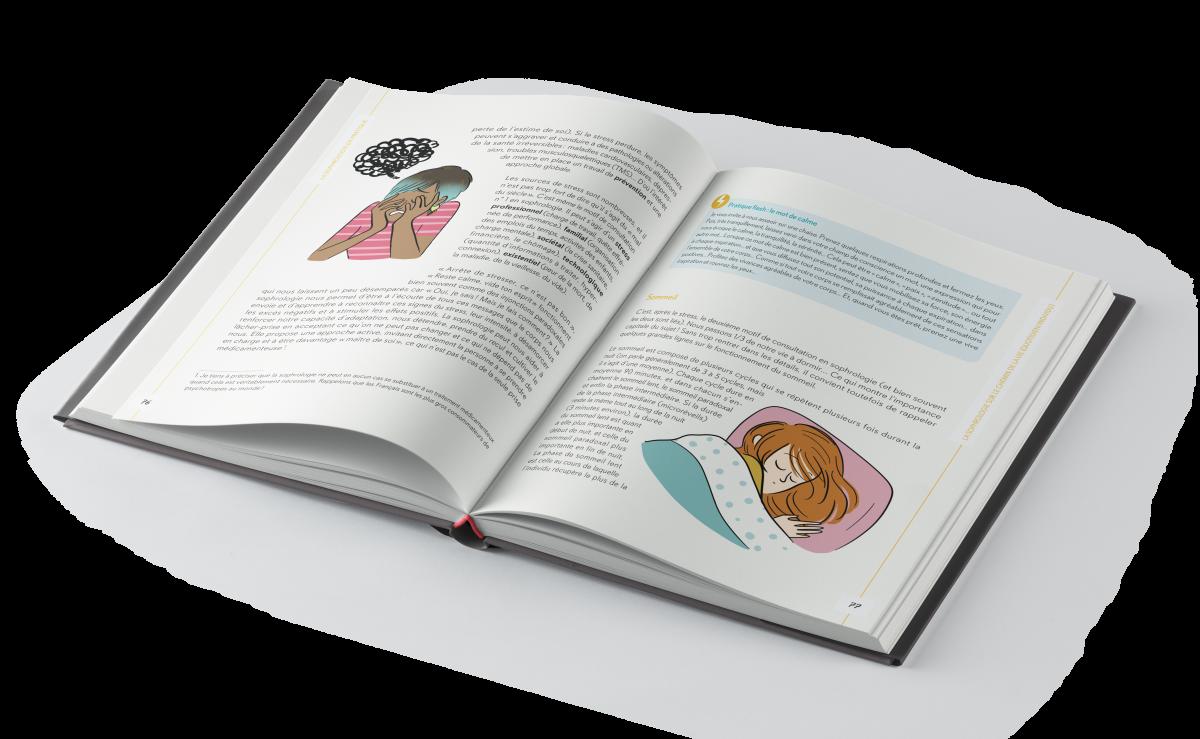 Création et mise en pages du Grand guide de la sophrologie au quotidien pour l'éditeur Le Courrier du livre