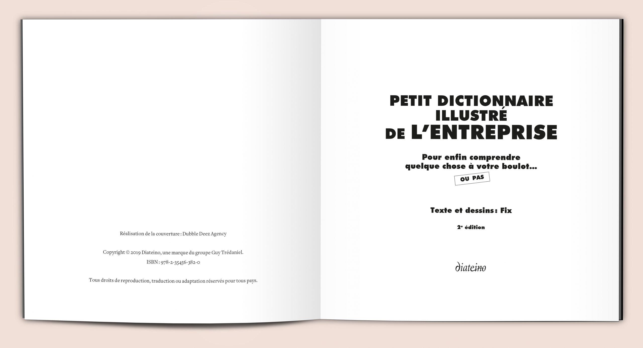 Création de maquette et mise en pages de la réédition du livre Petit dictionnaire illustré de l'entreprise pour l'éditeur Diateino