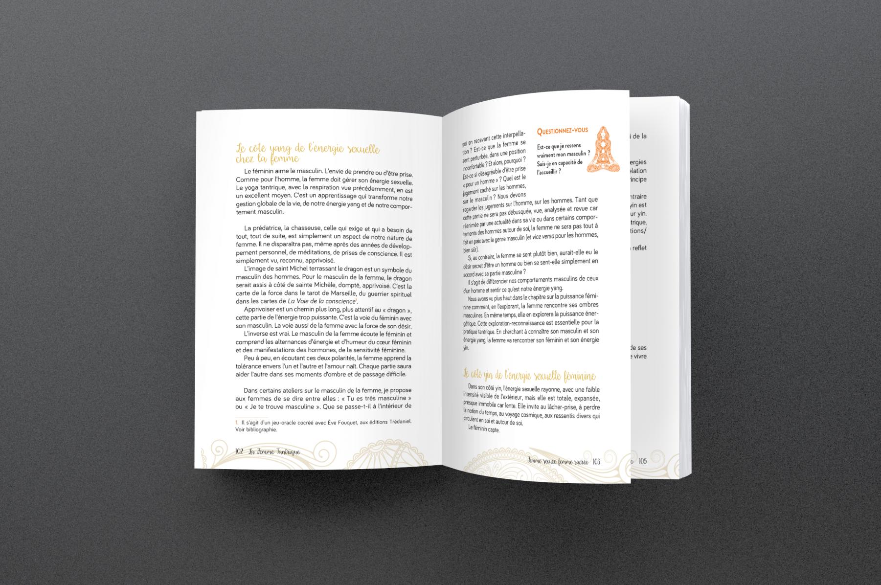 Création de maquette et mise en pages de l'ouvrage La Femme Tantrique pour l'éditeur Trédaniel