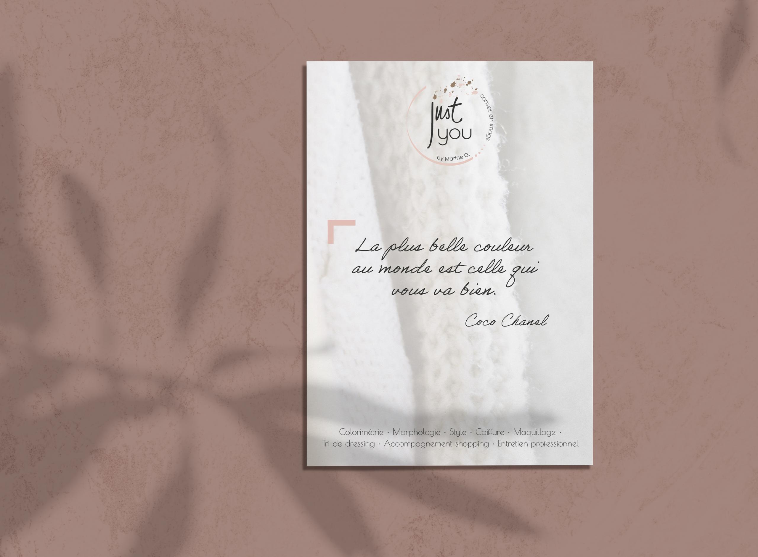 Le studio graphique citron sorbet crée le flyer de Just You by Marine G. qui présente ses prestations